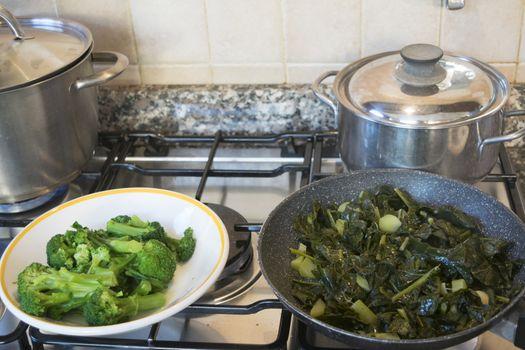 cooking variety of vegetables
