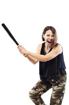 girl with baseball bat
