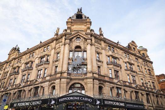 LONDON, UK - DECEMBER 29: Famous London Hippodrome Casino. London Hippodrome was built in 1900 by Frank Matcham as a hippodrome for circus and variety performances. On December 29, 2017 in London UK