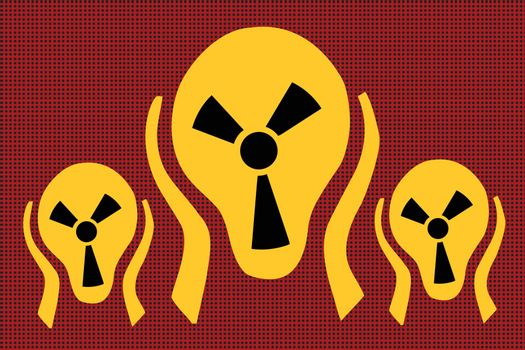 Caution radiation, scream terror fear