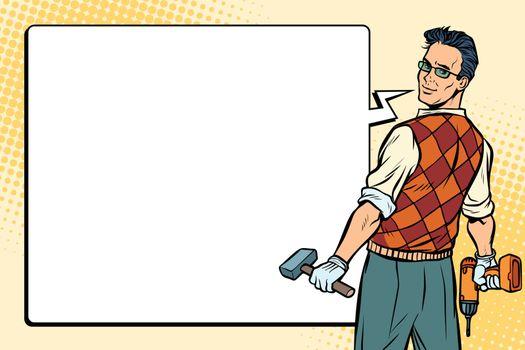 repairman, carpenter and comic bubble