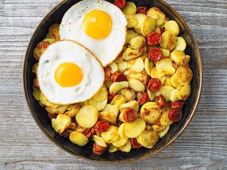 pan of rustic sausage potato hash