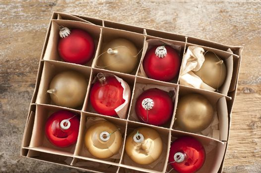 Top down view on christmas tree ornaments