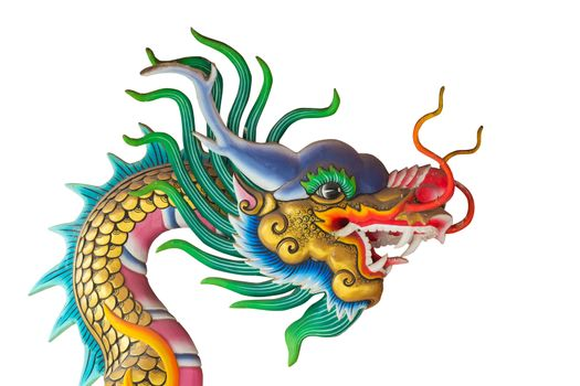 Dragon statue on white background.