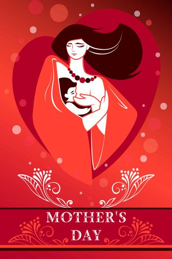 Emblem or simbol of mother and newborn baby. Mother holding child in arms and breastfeeding her. Vector vertical illustration with concept for family, motherhood, maternity, childbearing, mother's day, love and care. Eps10