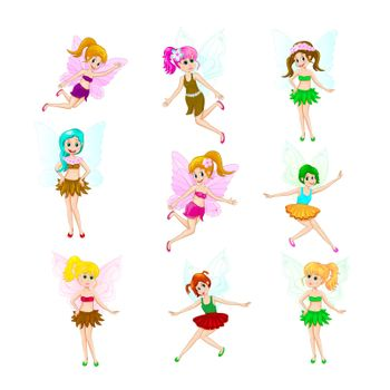 Cartoon fairies in various clothes on a white background.
