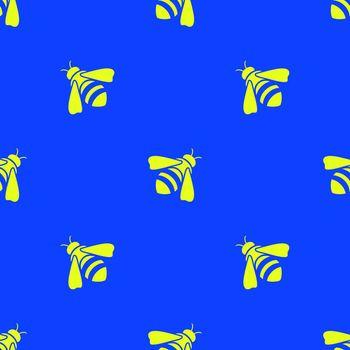 Yellow Bee Seamless Pattern
