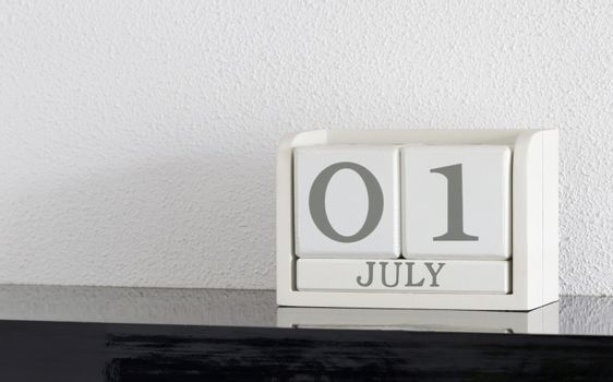 White block calendar present date 1 and month July
