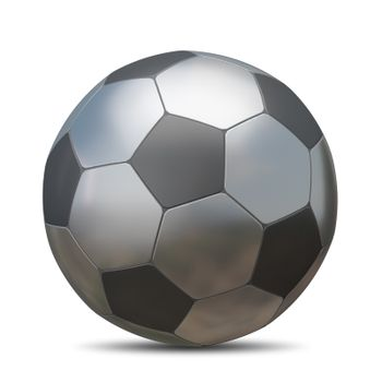 3D Illustration Metal Soccer Ball on a White Background