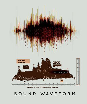 Graphic musical equalizer, sound waves, on a light gray background. Vector illustration