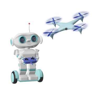 3D Illustration Robot with Quadrocopter on a White Background