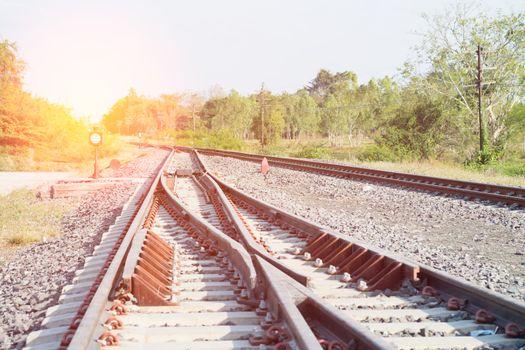Railroad tracks detail close up.