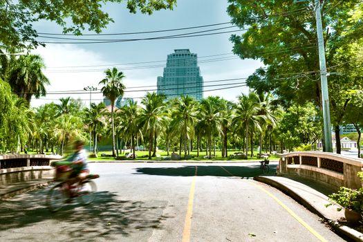 Lumphini park landscape.Asian travels