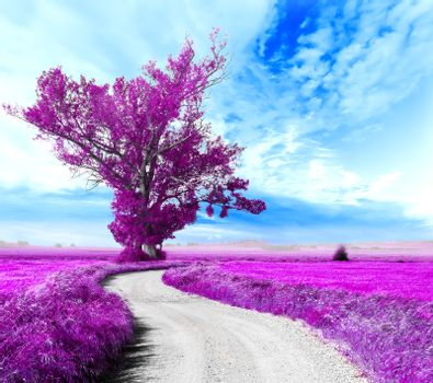 Surreal landscape and tree