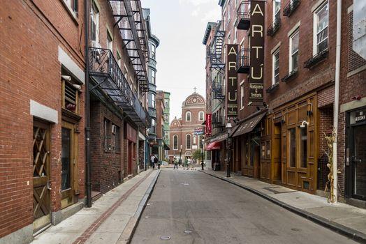 BOSTON MA- SEPTEMBER 10: narrow street in the North End, the Italian disctrict on September 10, 2017 in Boston, Massachusetts.