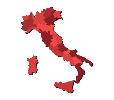 Italy map with regions