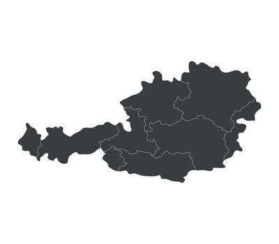 Austria map with regions