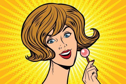 Joyful woman and Lollipop