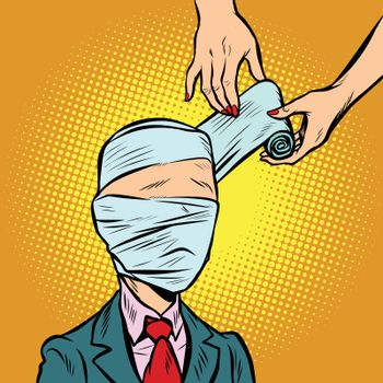 bandaged head, medical assistance