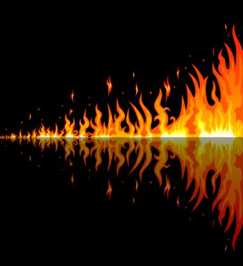 Flames burning fire. Burning fire with reflection on a black background. Border of abstract fire.