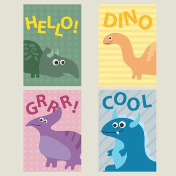 Set of 4 cards templates with dinosaurs for birthday, invitations, scrapbooking
