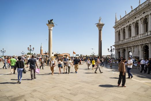 VENICE - JULY 1: San Marco square and the columns of San Marco and San Todaro on July 1, 2017 in Venice, Italy