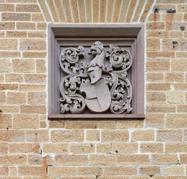 Coat of arms on the wall of Hohenzollern Castle in Germany