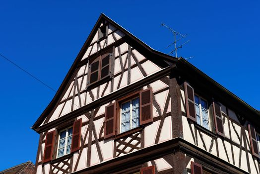 Fachwerkhaus, or timber framing house, in Colmar town, Alsace, France
