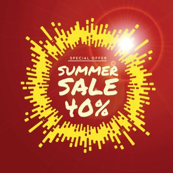 Summer sale vector background illustration with rounded lines background.