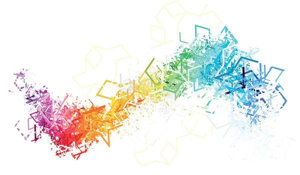 Colorful lines on white background. Vector illustration