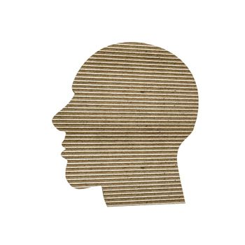 3d illustration of a cardboard head isolated on white background