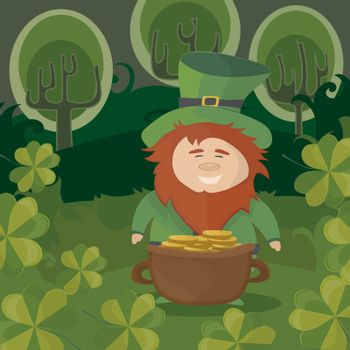St.Patricks Day. Leprechaun with a pot of gold coins in a forest