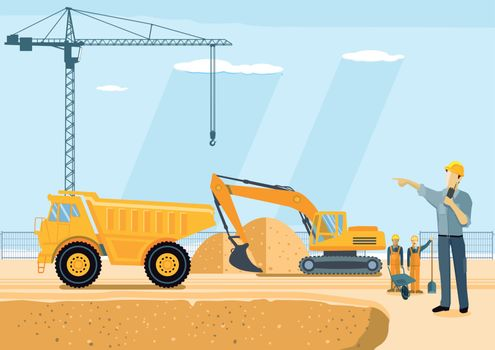 Excavator and sand dumper on the construction site