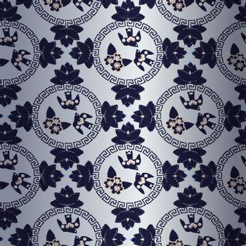 blue pattern with Chinese traditional symbol  with birds and fl