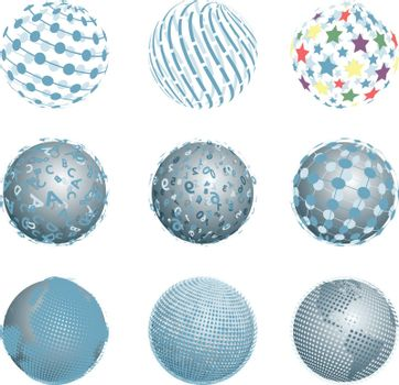 Illustration Nine Abstract Balls on the White Background