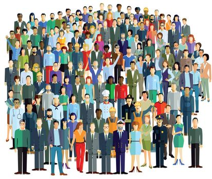 Crowd and groups of people, illustration