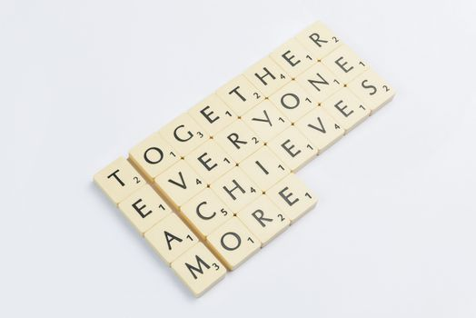Four scrabble words related to the word team in English