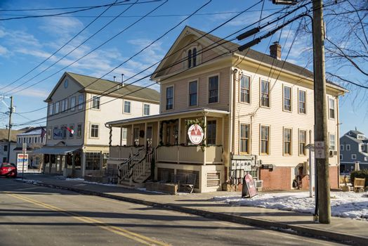MYSTIC, CT - DECEMBER 17: cute buildings and shops downtown Mystic, on December 17, 2017 in Mystic, CT USA