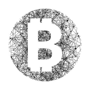 Vector symbol of bitcoin technology. Virtual money, Digital currency. Abstract illustration. Blockchain transfers concept