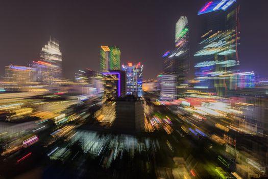 Saigon Ho Chi Minh Cityscape Nightlife Zoom Blur