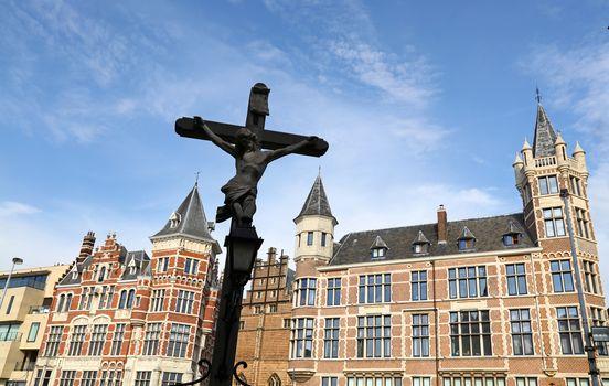 Cross over old buildings of Antwerp, Belgium