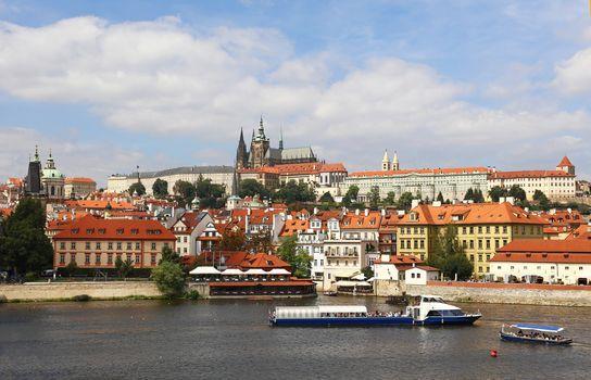 View of Prague lesser town over Vltava river