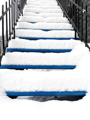 Townhouse staircase after snowstorm