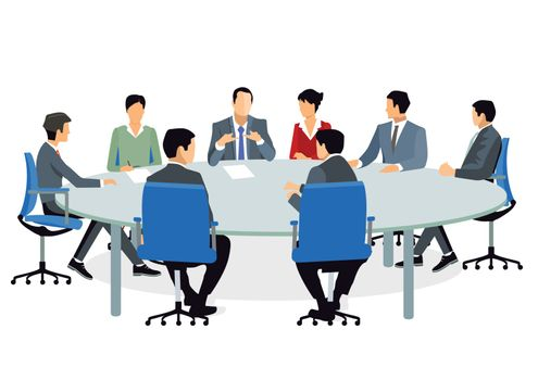 Business people at the meeting and advise
