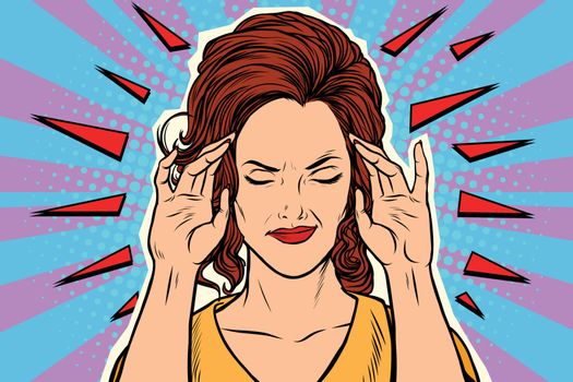 Woman headache, medical symptom of the disease