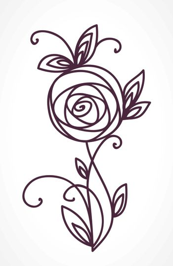 Rose. Stylized flower bouquet hand drawing. Outline icon symbol. Present for wedding, birthday invitation card