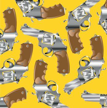 Firearm revolver on yellow