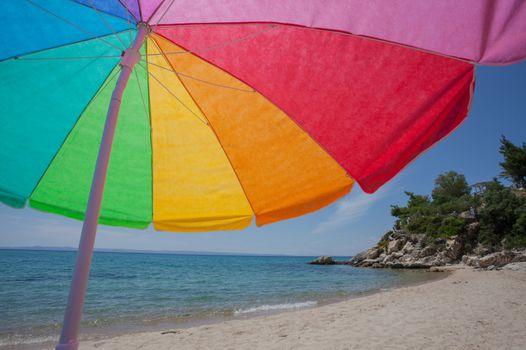 Colorful Umbrella Beach Sea