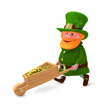 3D Illustration of Saint Patrick with Clover and with Cart on a White Background