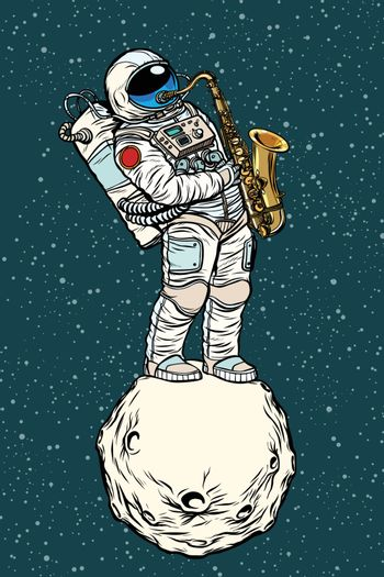 astronaut saxophonist plays jazz in space, saxophone musical ins